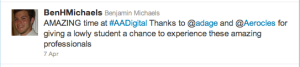 Benji's tweet for AAdigital